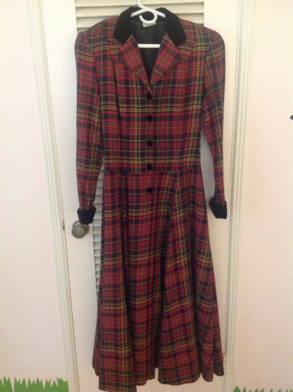 LAURA ASHLEY plaid wool velvet full skirted long r
