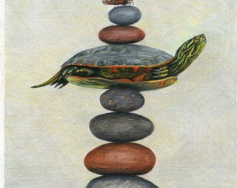 Zen Turtle - Painted Turtle and Butterfly art giclee print matted to 8x10