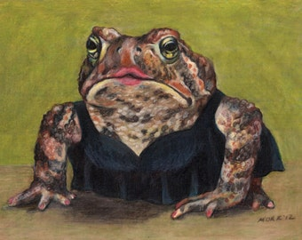 """Art Print - """"Little Black Dress"""" Toad   Matted 7x5"""" Giclee print ready to frame"""