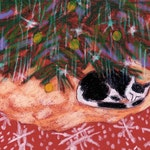 cat christmas card, boxed set cat art note cards