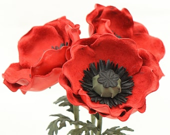Leather Poppy Red Leather Flower Anemone Bouquet Third Wedding Anniversary Gift Long Stem Stemmed Flower 3rd Leather Anniversary