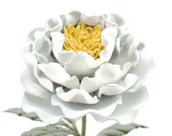Leather Peony White Flower Third Wedding Long Stem Leather Flower Valentine's Day 3rd Leather Anniversary Gift Stemmed Peony Home Decor