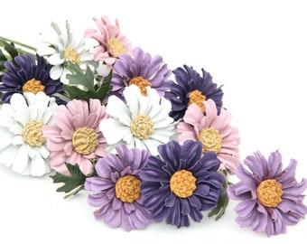 Third Anniversary Gift Dozen Leather Flower Daisy Bouquet Long Stem Flower Leather Anniversary Gift 3rd Anniversary Wedding Gift