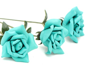 Teal leather mint turquoise Leather Rose bouquet Third Wedding Anniversary Gift Long Stem leather flower 3rd Leather Anniversary