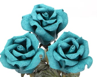 3rd Anniversary Leather Rose teal blue wedding gift Long Stem turquoise leather flower Valentine's Day 3rd Leather Anniversary Mother's Day