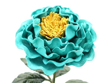 Leather Peony Flower Teal Turquoise Third Wedding Long Stem Leather Flower Valentine's Day 3rd Leather Anniversary Gift Forever Flower