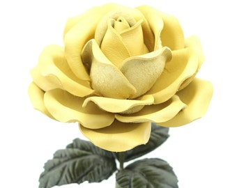 Leather Rose Yellow Leather Flower Personalized Third Anniversary Gift 3rd Leather Anniversary Wedding Gift Long Stem Rose Sofia