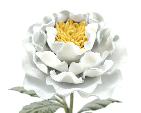 Leather Peony White Flower Third Wedding Long Stem Leather Etsy