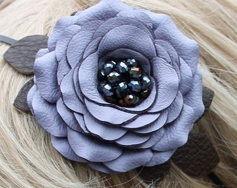 Periwinkle flower headband fascinator leather rose green leaves woodland wedding bridal hairpiece 3 year anniversary gift prom wearable art