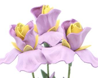 3 leather flower iris lilac spring Wedding Third Anniversary Gift Long Stem Flower Easter Wedding 3rd Leather Anniversary Mother's Day Prom