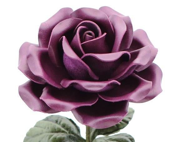 Leather Anniversary Gift Rose Large Third Wedding Long Stem Etsy