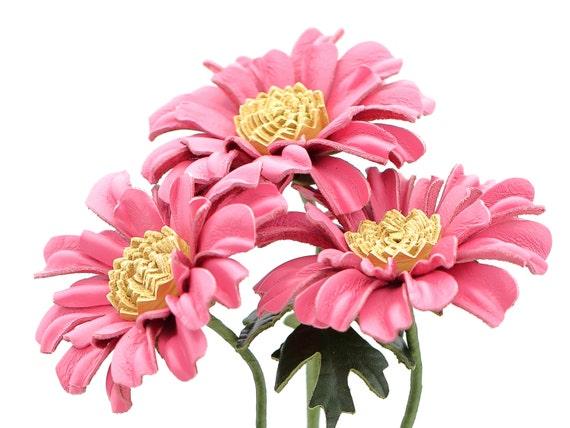 Troisième Mariage Anniversaire Cadeau Longue Tige Fleur Cuir Bouquet De Fleurs En Cuir En Cuir Marguerite Gerbera Rose Dasies 3e Anniversaire En Cuir
