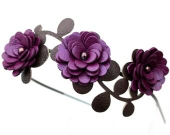 Purple flower headband leather amethyst mums green leaves floral bridal tiara woodland wedding hair accessory 3 year anniversary gift