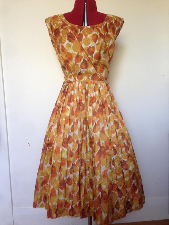 """Original 1950s Floral Dress """"Alix of Miami"""" / Fift"""