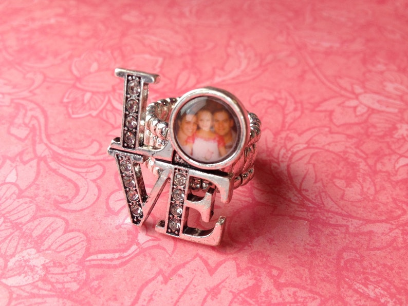 Adjustable Photo LOVE Ring with Twinkle CZ accent image 0