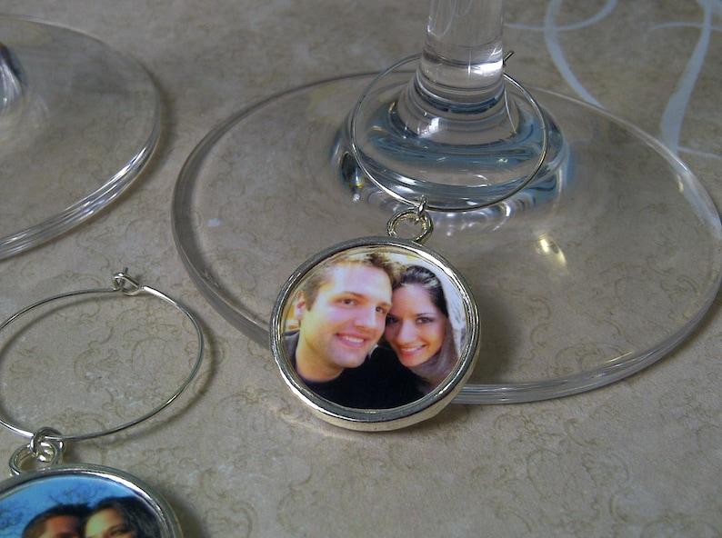 Wine Glass Charms Custom Photo Round Charms image 0
