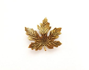 Maple Leaf Brooch Copper Tie Tack Lapel Pin Boutonniere Nature Forest Rustic Woodland Wedding Accessories Womens Gift For Her Autumn Fall