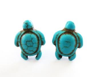 Turtle Stud Earrings Tortoise Jewelry Aquatic Animal Ocean Sea Blue Turquoise Howlite Gemstone Gem Stone Accessories Womens Gift For Her