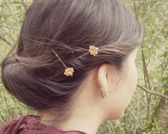 Gold Flower Bobby Pins Floral Hair Clips Bride Bridal Bridesmaid Garden Botanical Rustic Woodland Wedding Accessories Womens Gift Spring