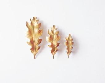 Oak Leaf Barrettes Gold Bridal Hair Clip Botanical Nature Garden Bridesmaid Rustic Woodland Wedding Accessories Autumn Fall Womens Gift
