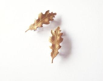 Gold Oak Leaf Barrettes Bridal Hair Clips Bride Bridesmaid Garden Botanical Rustic Woodland Wedding Accessories Vintage Inspired Womens Gift