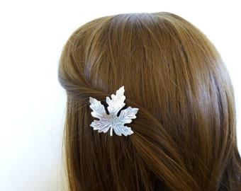 Fall Wedding Hair Clip Silver Maple Leaf Barrette Autumn Rustic Woodland Forest Garden Bridal Accessories Girlfriend Womens Gift For Her