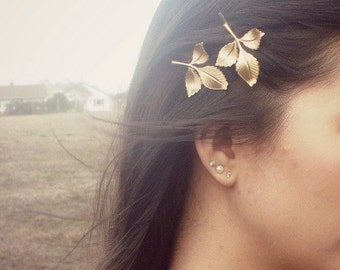 Gold Leaf Bobby Pins Bridal Hair Clip Grecian Greek Goddess Bridesmaid Vintage Style Rustic Woodland Wedding Accessories Womens Gift For Her