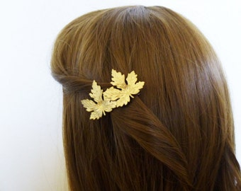 Gold Bridal Hair Clip Maple Leaf Headpiece Bride Bridesmaids Head Piece Hairpiece Rustic Woodland Wedding  Accessories Womens Gift For Her