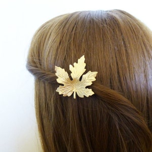 Bridal Hair Clip Silver Maple Leaf Barrette Bride Bridesmaid Nature Vintage Style Botanical Woodland Wedding Accessories Womens Gift For Her