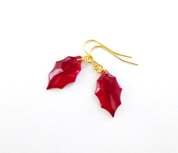 a559dd761 Holly Leaf Earring Red Christmas Jewelry Holiday Art Deco | Etsy