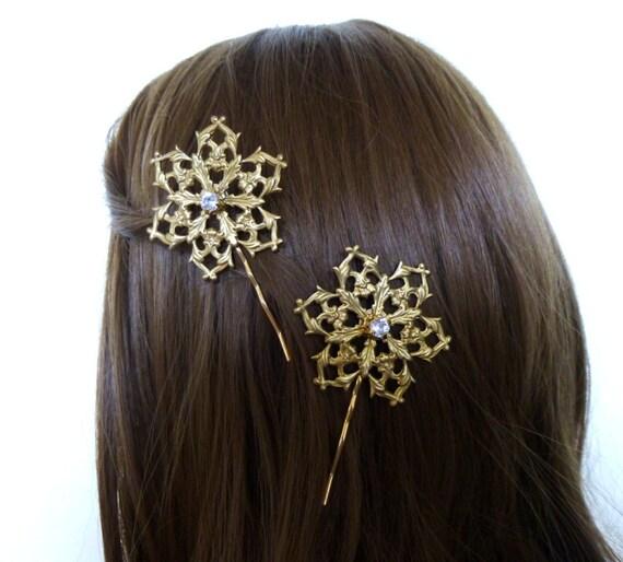 Pinces à cheveux or flocon de neige Snow Flake épingles à cheveux mariée d'hiver les demoiselles d'honneur de mariage accessoires vacances Unique femmes cadeau de Noël pour elle