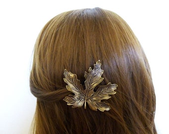 Large Maple Leaf Barrette Bridal Hair Clip Bride Bridesmaid Nature Autumn Fall Brown Rustic Woodland Wedding Accessories Womens Gift For Her
