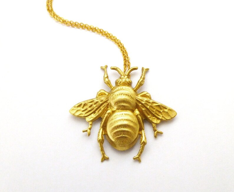 dd326ec16729e Bee Charm Necklace Gold Bumblebee Pendant Nature Insect Statement Garden  Bridesmaids Rustic Woodland Weddings Womens Gift For Her Spring
