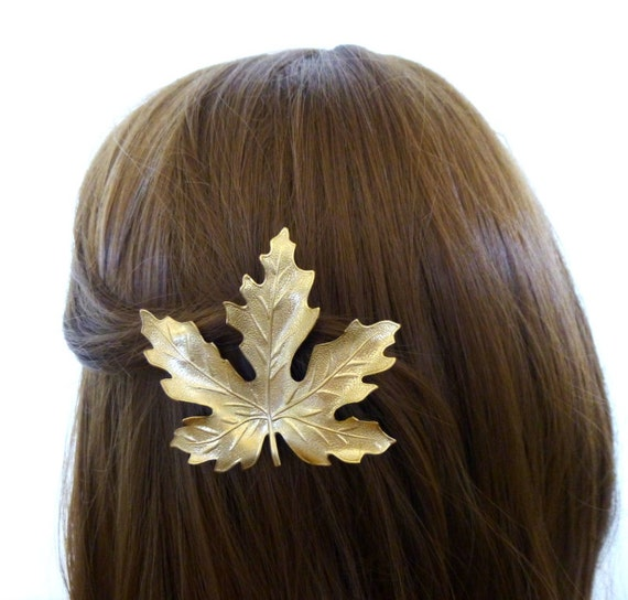 Gold Leaf Hair Clip Bridal Barrette Bride Bridesmaid Botanical Nature Garden Rustic Woodland Wedding Accessories Womens Gift For Her Spring