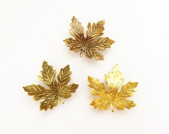 Maple Leaf Barrettes Rustic Hair Clip Bride Bridal Bridesmaid Copper Brown Gold Autumn Fall Woodland Wedding Accessories Womens Gift For Her