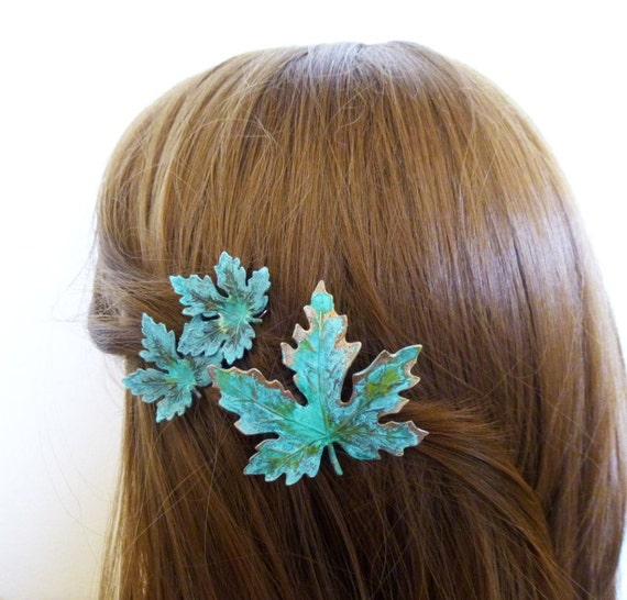 Bridal Hair Clips Green Maple Leaf Barrettes Bride Bridesmaid Nature Garden Rustic Woodland Wedding Accessories Unique Womens Gift For Her