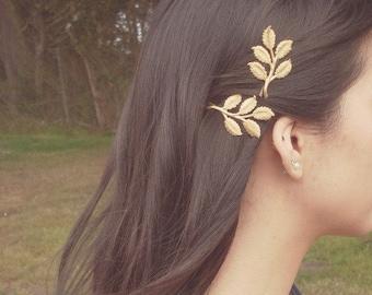 Gold Leaf Branch Bobby Pins Bridal Hair Pins Bridal Hair Clips Rustic Woodland Wedding Bridal Hair Accessories Grecian Hair Autumn Fall Gift