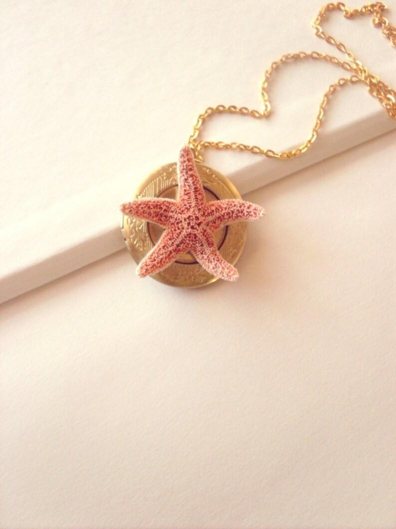 Mermaid Locket 50/% Off Sale Starfish Necklace Sea Star Jewelry Ariel Bridal Bridesmaid Nautical Destination Beach Wedding Womens Gift Summer