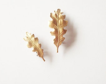 Gold Oak Leaf Hair Clips Bridal Barrettes Nature Botanical Garden Bridesmaids Rustic Woodland Wedding Accessories Autumn Fall Gift For Her
