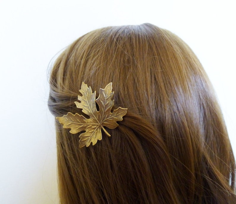Leaf Hair Clip Brown Barrette Rustic Maple Woodland Autumn Fall Forest Garden Botanical Nature Accessories Girlfriend Womens Gift For Her
