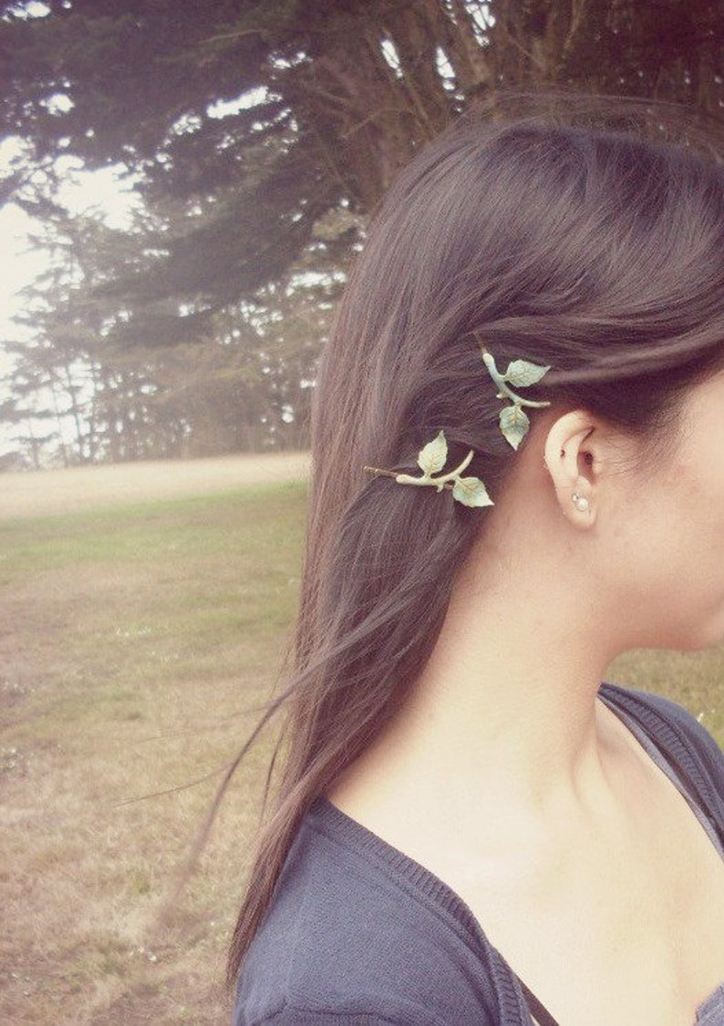 Green Leaf Branch Bobby Pins Bridal Hair Clips Nature image 1