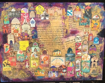 Mixed Media Collage Purim Parade Posters In Shushan
