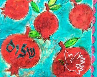 Mixed Media Judaic Rimonim of Shalom Pomegranates of Peace