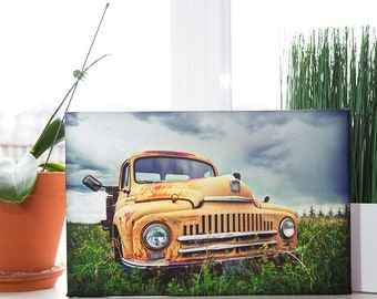Picture of a Yellow Vintage International Truck 1940s Printed on a Minature Giclee Canvas Mounted on Wood Frame