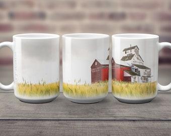 Weathered Grain Elevator in Wheat Field Coffee Mug 15 oz Big Beverage White Ceramic Mug