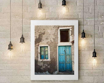 Photograph of Blue Door in Greece Printed on Fine Art Paper