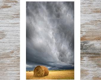 Wall Art Hay Bale Under Storm Clouds in Alberta Prairies Photograph Printed on Fine Art paper