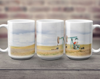 Pump Jack Printed on 15 oz Coffee Mug Big Beverage White Ceramic Mug