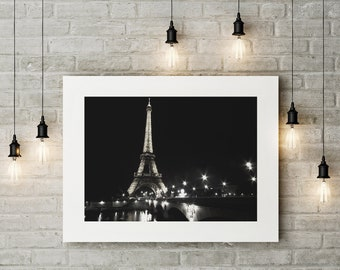 Black and White Photograph of Eiffel Tower in Paris Printed on Fine Art Paper