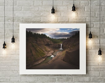 Photograph of Ram Falls with Rocky Mountains printed on Fine Art Paper